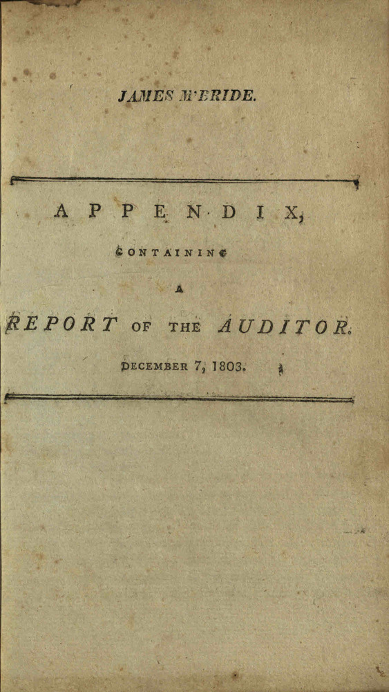 Report of the Auditor of the State of Ohio, 1803 (cover page)